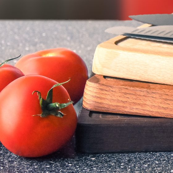 wooden chopping board and kitchenware
